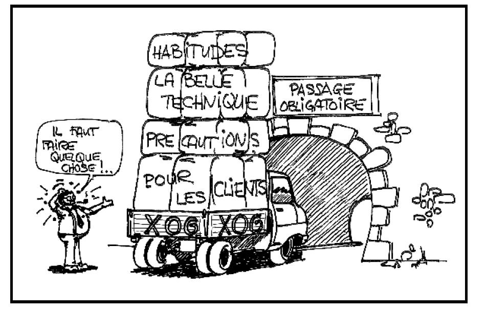 Les petits croquis d'Yves Dubreil, destinés à communiquer avec le sourire des messages qui risqueraient de froisser son équipe : à voiture rigolote, méthode sympathique. Ici il montre que l'empilement des contraintes, qu'imposent les ingénieurs et commerciaux, ne cadre pas avec les objectifs budgétaires du projet. Sous-entendu : il va bien falloir en jeter une ou deux par dessus le bord, sinon on plante le projet. En clair : c'est un ultimatum !