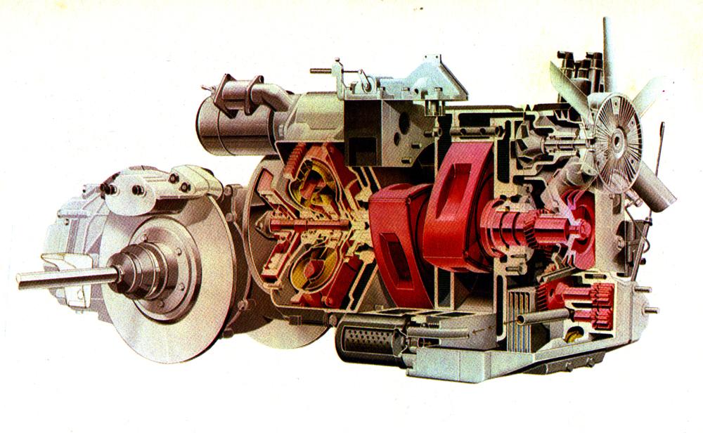 Le birotor « Comotor » de la NSU Ro80, reconnaissable à ses freins à disques « embarqués », en sortie de boîte de vitesse et non dans les roues. Une technique originale destinée à limiter les masses non-suspendues et qui se retrouvera dans la GS.