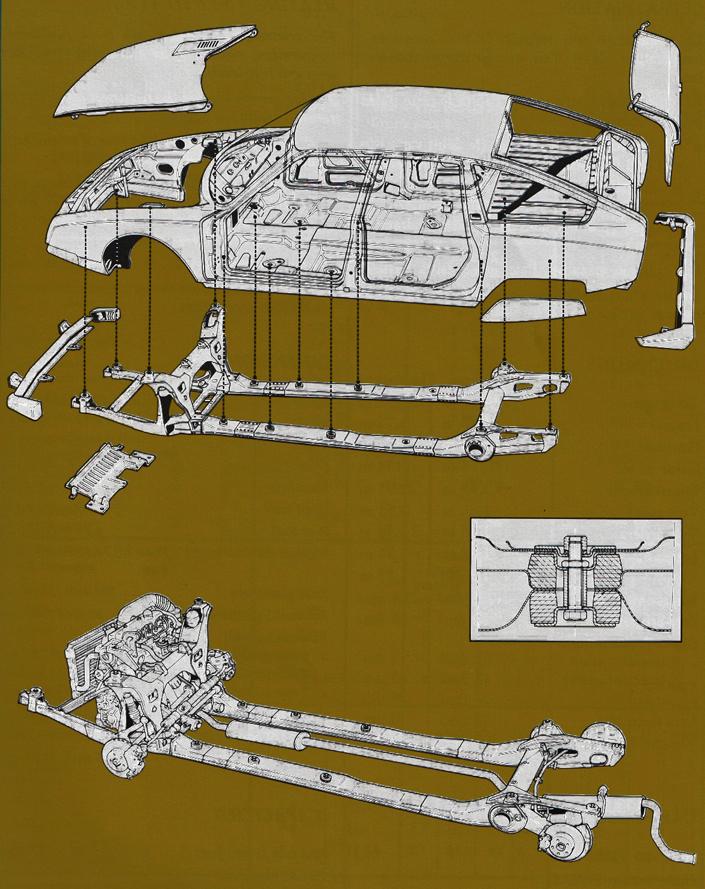 L'architecture très particulière de la CX : le faux-châssis se fixe sous la caisse. En dessous, ce même faux-châssis, équipé de ses trains roulant et de son moteur.