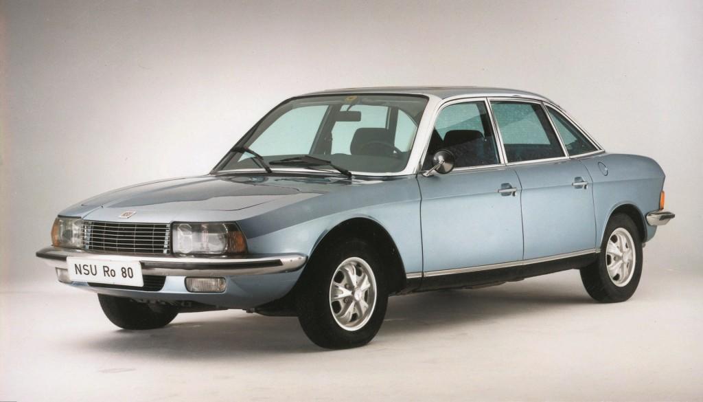 NSU Ro 80, voiture de l'année 1967 : une exceptionnelle avance stylistique, technique et aérodynamique.