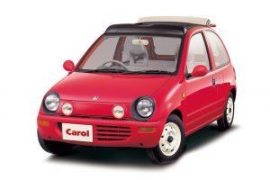 La Carol II, motorisée par Suzuki et distribuée par Autozam, filiale de Mazda spécialisée dans les produits atypiques.